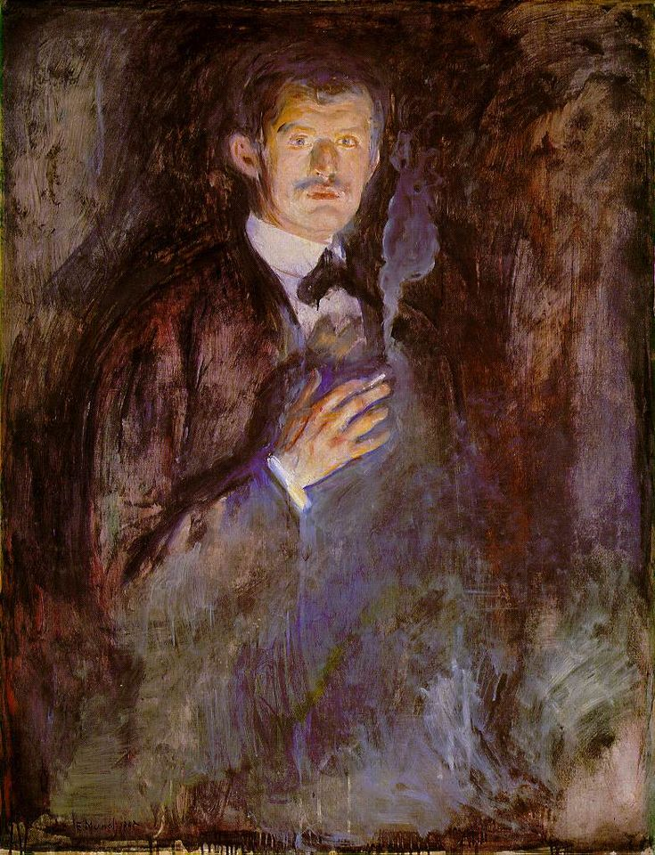 Edvard Munch Self-portrait 1891: The National, Cigarette 1895, Selfportraits, Self Portraits, Burning Cigarette, Oslo, Canvas, Painting, Edvard Munch