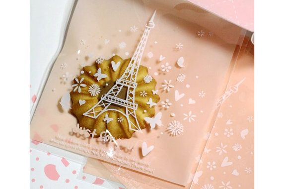 Paris Eiffel Tower Cute Cellophane Cookie Gift Bags, 20pcs