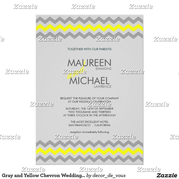 Gray and Yellow Chevron Wedding Invitations