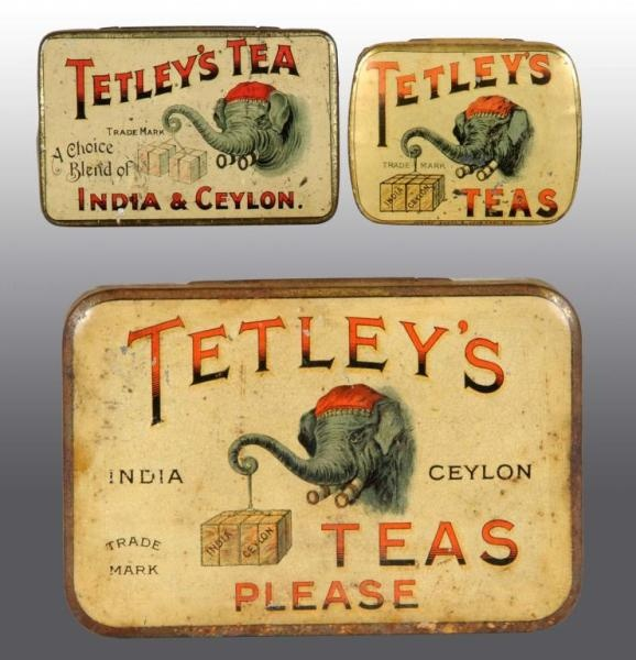 "Tetley Tea flat rectangular tin trio, top lid view ... elephant lifting tea crate and ""Tetley's Teas"" or  ""Tetley's Tea A Choice Blend of India and Ceylon"" or ""Tetley's Teas Please"" slogan, c. 1920s-1930s, UK"