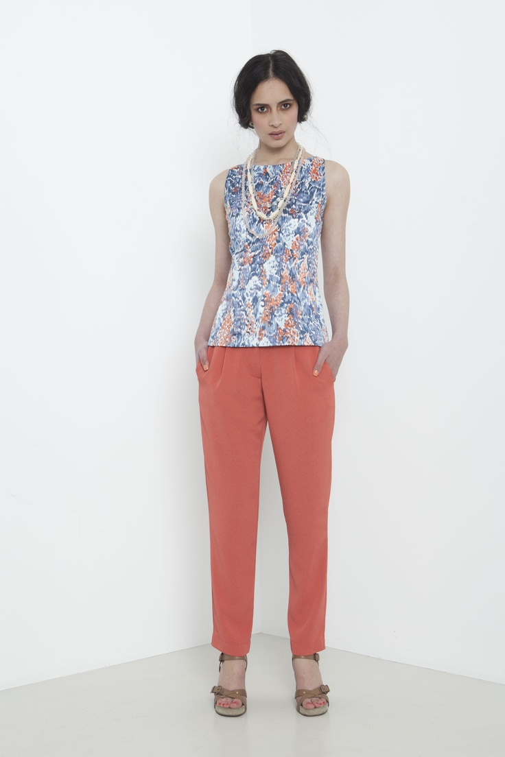 Impressionist Shell Top - mediterranean blue.  Amelie Pant - coral.