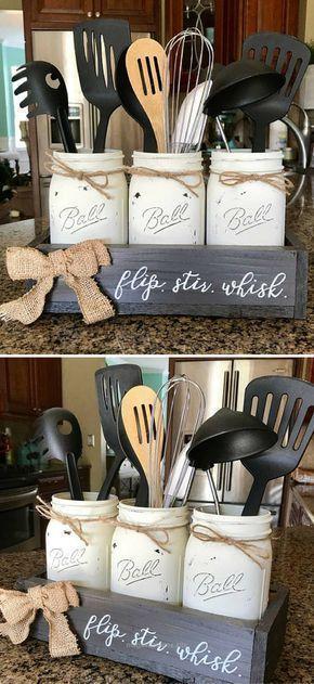 Check it out Mason Jar Utensil Holder – Farmhouse Kitchen Decor – Farmhouse Decor – Joanna Gaines – Rustic home decor – Rustic kitchen decor – Rustic decor – Original Flip Stir Whisk #ad The post .. #kitchenutensils