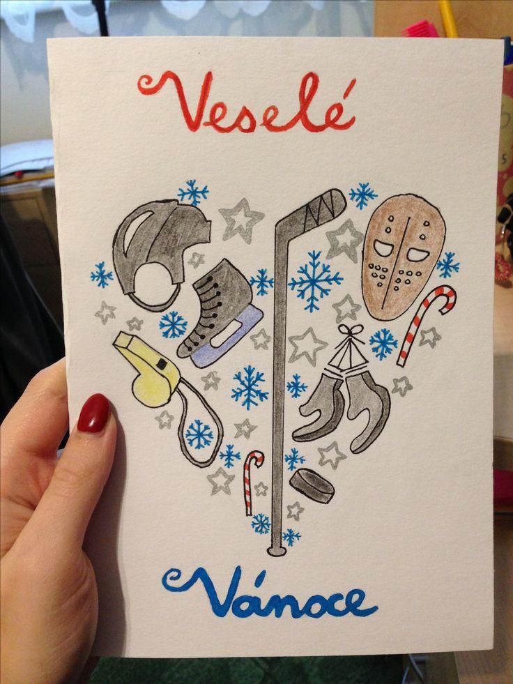 Christmas card ice hockey