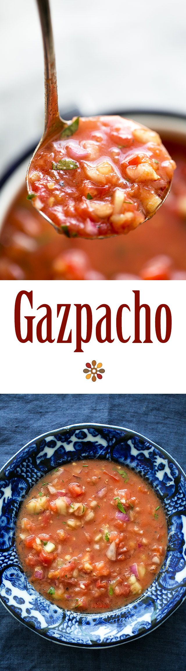 Gazpacho ~ California version of the classic Spanish gazpacho recipe. Chilled soup made with ripe, uncooked tomatoes, cucumber, bell pepper, celery, onion, and seasoned with fresh herbs, Tabasco sauce and Worcestershire sauce. ~ SimplyRecipes.com
