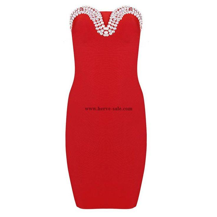 Herve Leger Red Crystal Beads Strapless Bandage Dress H965R