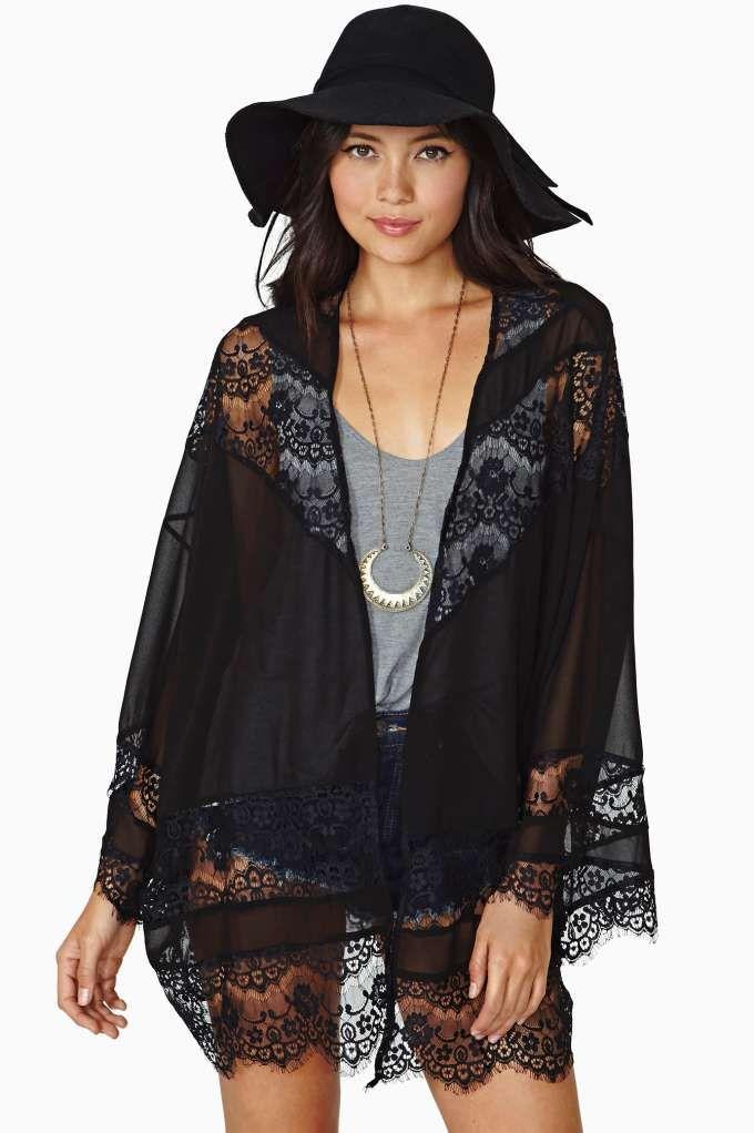 Black Sheer Lace Chiffon Kimono | Cardigans - Kimonos - Shawls ...