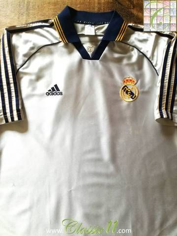 8b7bd9611 Official Adidas Real Madrid home football shirt from the 1998 99 season.