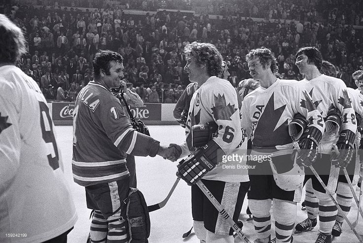 Vladimir Dzurilla #1 and the rest of the Czechoslovakian team shake hands with Bobby Clarke #16, Lanny McDonald #12, Serge Savard #18 and the rest Canadian team after the Canada Cup Final at the Montreal Forum on September 15, 1976 in Montreal,