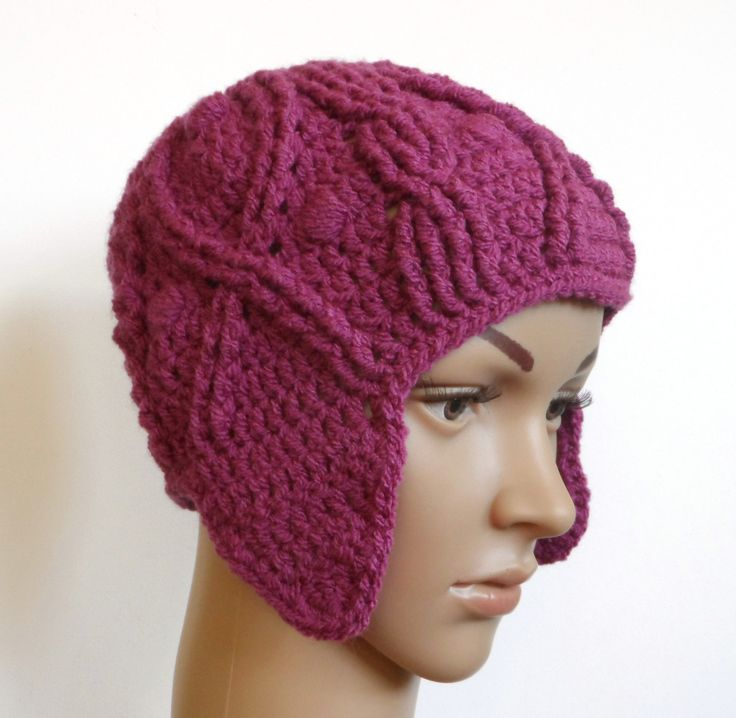 Crochet Cable Hat,  Ear-flap Hat , Ladies winter Hat, Raspberry Crochet Hat. Plum Hat, Purple Crochet Hat. - pinned by pin4etsy.com