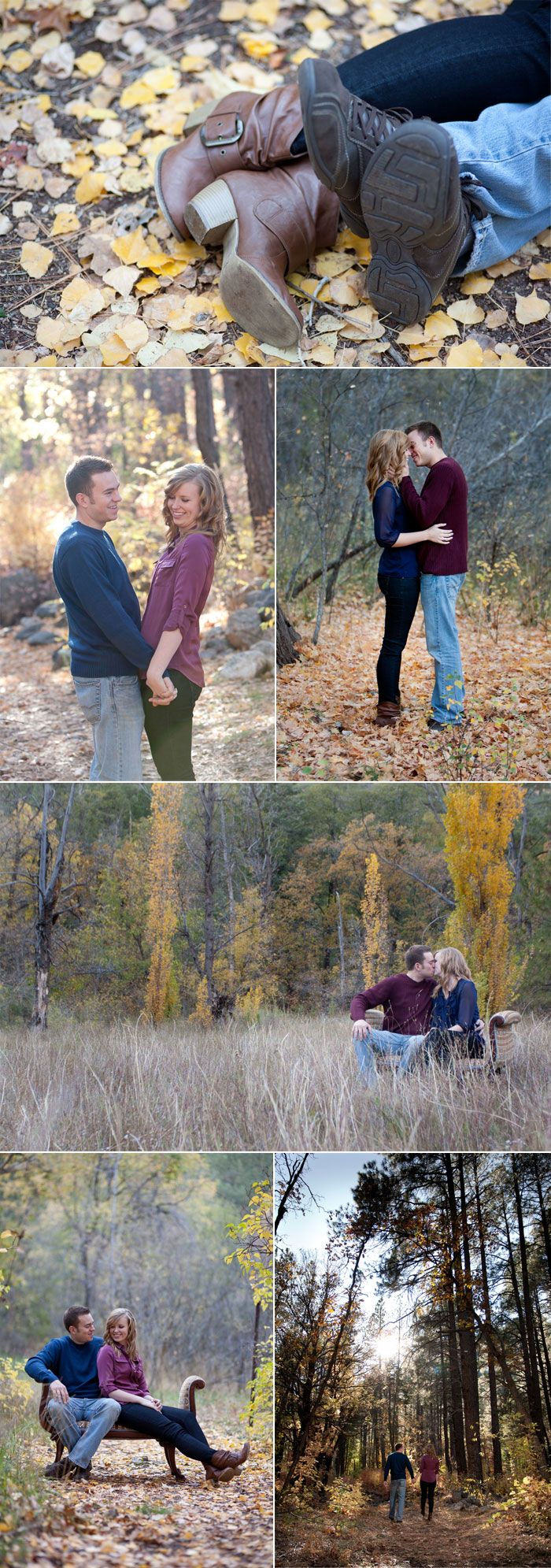 Engagement - fall. Love the top pic of the shoes