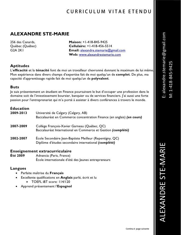 Exemple Cv Quebecois Modele Cv Gratuit Exemple Cv Cv Gratuit