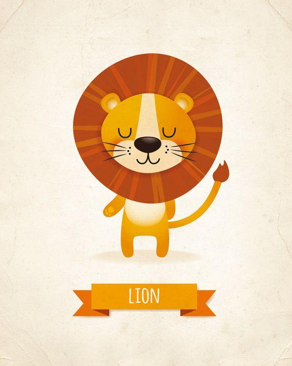 Muchacho de arte infantil arte de vivero León por IreneGoughPrints