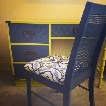 Newly dressed in gray & yellow. Desk & chair set.