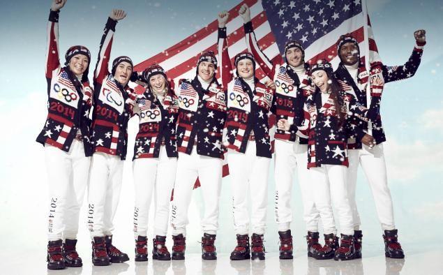 Athletes model Ralph Lauren's new looks for the 2014 Winter Olympics in Sochi.