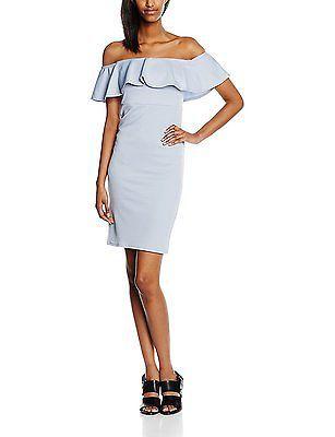 14, Blue (Dark Blue), New Look Women's Waffle Bardot Dress NEW