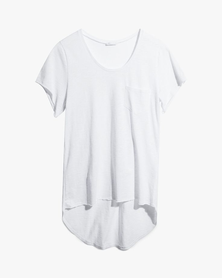The Coby #Tee is a #shortsleeve, #scoop neckline tee with a left chest pocket and a scooping high-low back hemline. Made in a slightly textured #cotton slub #jersey.