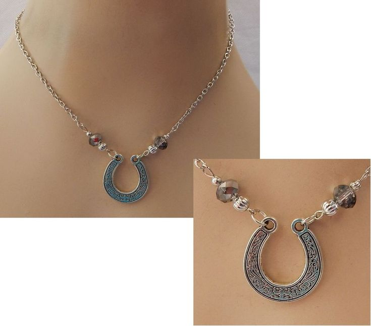 Silver Lucky Horseshoe Pendant Necklace Handmade Adjustable Accessories NEW #Handmade #Pendant