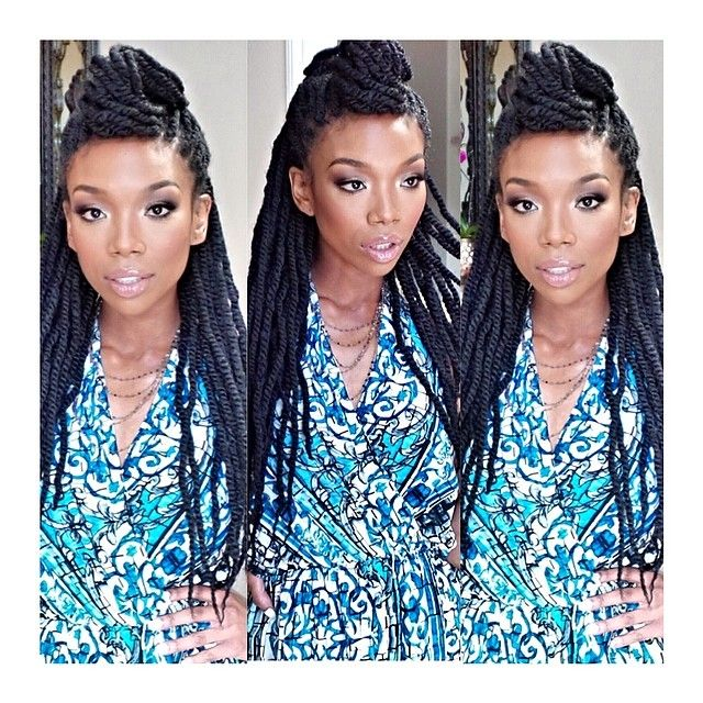 Brandy Norwood is wearing her hair natural nowadays. Rocking box braids, twists and an afro, she is switching between protective styles during these hot summer months. Check out her hot natural hairin the gallery. -joi pearson @joiapearson