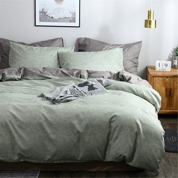 Senior Light Green Autumn Winter 3 Piece Comforter Cover Set Etsy In 2020 Sage Green Bedroom Green Comforter Bedroom Bedroom Green