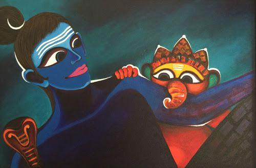 shiva and ganesha painting by Deeksha Roy at Pradarshak