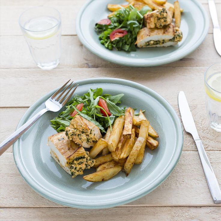 Stuffed Chicken Breasts with Paprika Chips and Rocket Salad