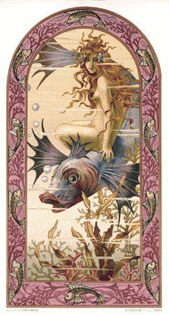 """Title: Ondine Artist: Maurice Duflo Portfolio: Album de la Decoration, A. Calavas Editor, Paris France Date: late 1890s Size: 10.5""""x14"""" http://www.rare-posters.com/d631.html"""