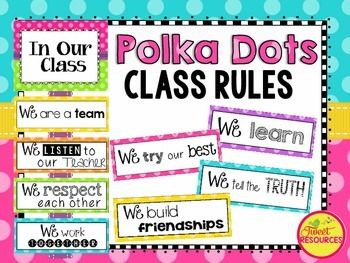 Classroom Rules Display Package. Display your classroom rules with this cheerful Polka Dot Brights themed poster set. This display was made with a positive spin, and a selection of rule cards have been created for your personal preference. Included in this package are editable cards for you to create your own classroom rules if you wish.