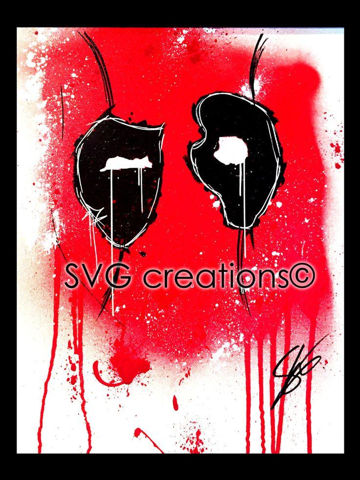 Deadpool peinture Marvel abstraite giclées et aérosol sur toile 16 x 20 de la boutique SVGCreations13 sur Etsy