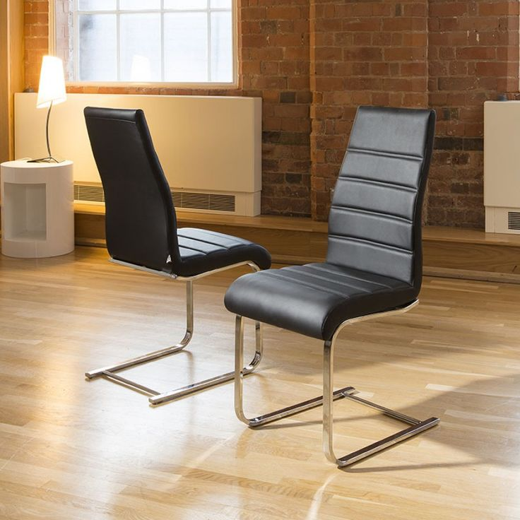 dining chair/chairs set of 2 black Faux leather Modern High Back 207