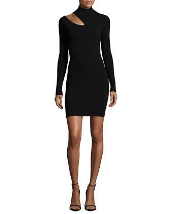West+Long-Sleeve+Slit-Shoulder+Fitted+Sweater+Dress+by+A.L.C.+at+Neiman+Marcus.
