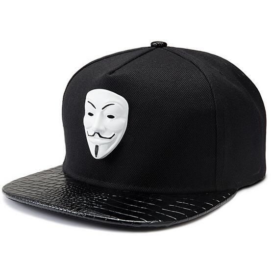 Souvenir edición V de Vendetta máscara ala tapa plana de cuero de algodón sombrero ajustable del Snapback Gorras Hip Hop hombres mujeres gorra de béisbol