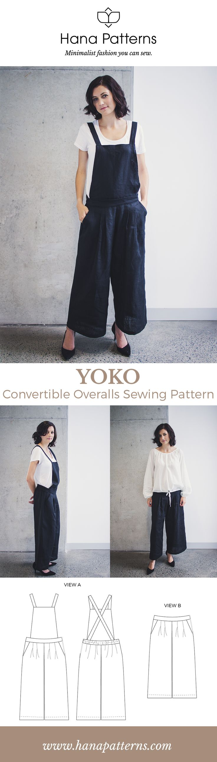 PDF Sewing Patterns for Women | YOKO Convertible Overalls | Overalls never looked so chic! With front pleats and a cropped length, these versatile overalls can be converted into pants by removing the top. Find out more at www.hanapatterns.com