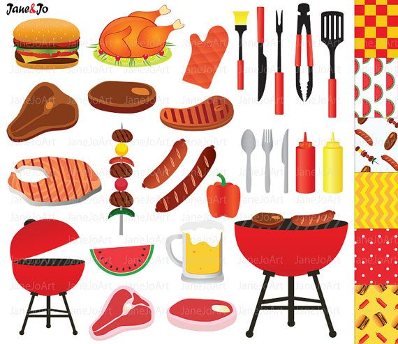BBQ-Clipart Barbeque Clipart Clipart Sommer Grill von JaneJoArt