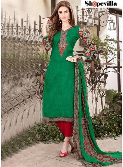 Attractive Green Cotton Straight Cut Pant Style Suit-51008
