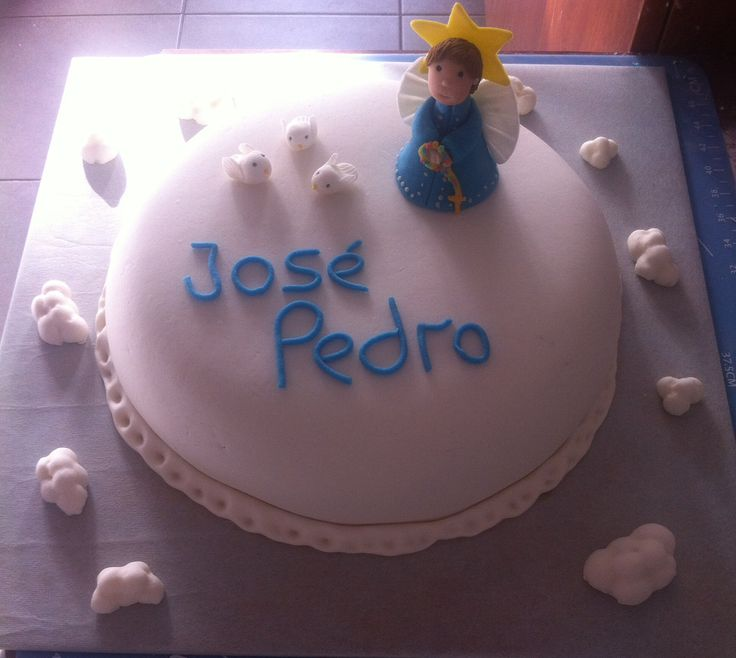Bautizo, torta decorada, ángel de azúcar, fondant, cake,