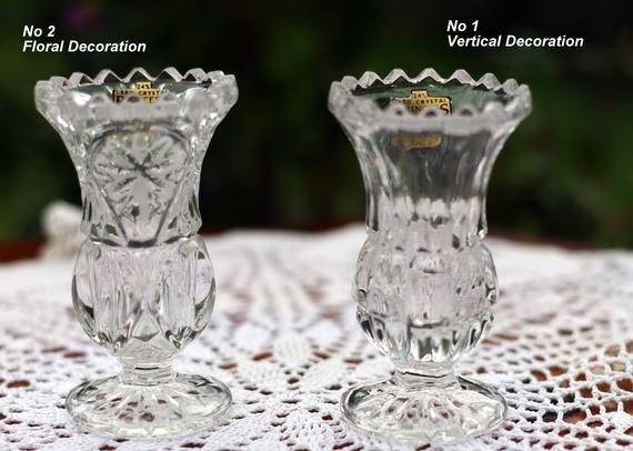 Vintage Small Crystal Flower Vase Yugoslavian Princess Etsy Bud Vases Flower Vases Serving Tray Decor
