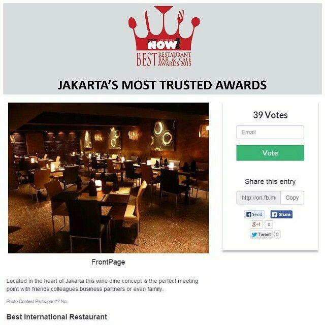 Give your vote for FrontPage for The Best International Restaurant on #BRBCA2015! #Jakarta #NOWJakarta #LifeinTheCapital #BRBCA #Best #International #Restaurant #Category #Front #Page #FrontPageJakarta #FrontPageJKT #Nomi #Inc #NomiInc #Brunch #Lunch #Diner #Dine #Dining #Hangout