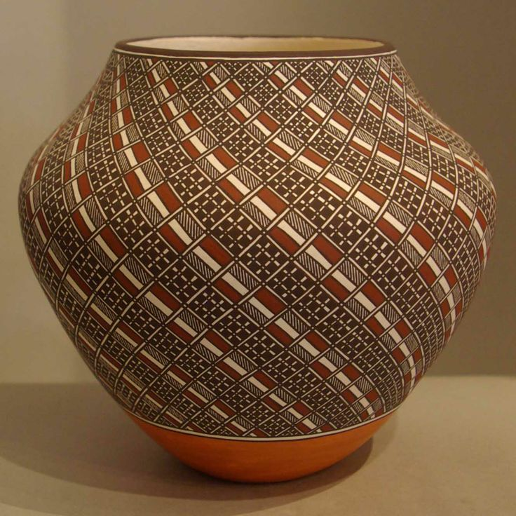 Pueblo: Acoma Artist: Rebecca Lucario Date Created: 2013 Dimensions: 5 3/4 in H by 6 3/4 in Dia Item Number: xxach3183 Price: $ 3800 Description: Four color swirl geometric design