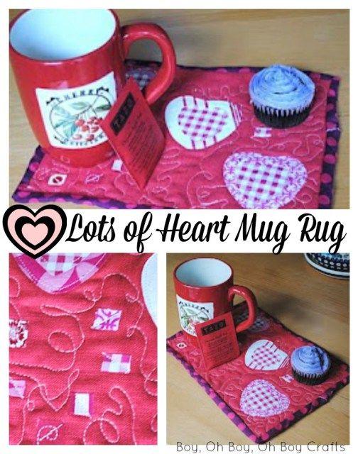 Beatnik Kids Valentine's Day Mug Rug and a Swap Uncategorized  Mug Rug mini quilt