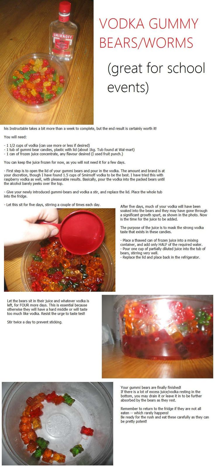 vodka gummy bears - never heard of this juice trick before. will have to try next time