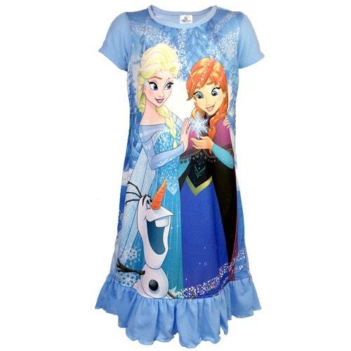 Disney Frost natkjole med Olaf, Anna & Elsa - Blå | Morango.dk