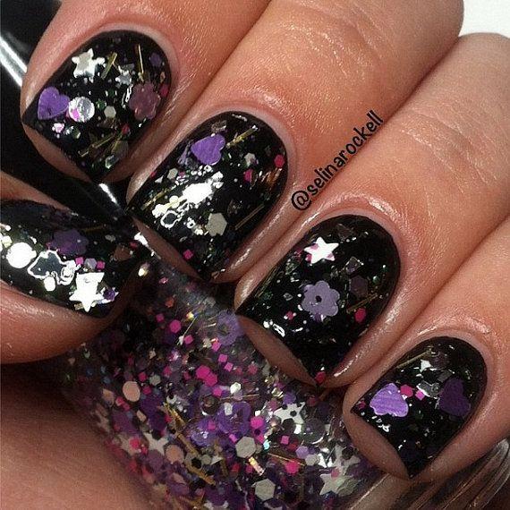Rock Star: Purple Glitter Topper Nail Polish Lacquer- Indie Nail Polish Custom Handmade