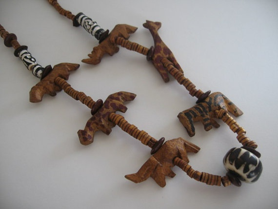 Wooden necklace Wooden carved Jungle animal Necklace by Klassic, $35.00