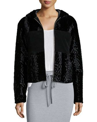 Velvet+Faux-Fur+Hooded+Bomber+Jacket,+Black+by+T+by+Alexander+Wang+at+Neiman+Marcus.