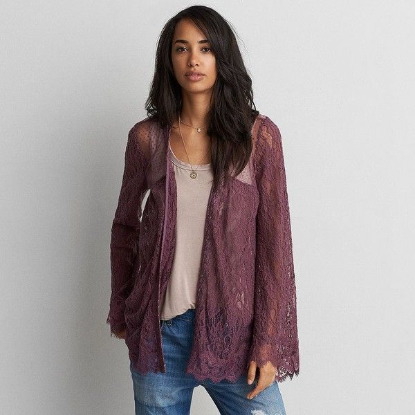 AE Lace + Mesh Kimono ($20) ❤ liked on Polyvore featuring intimates, robes, purple, lace robe, american eagle outfitters, purple robe, mesh robe and sheer robe