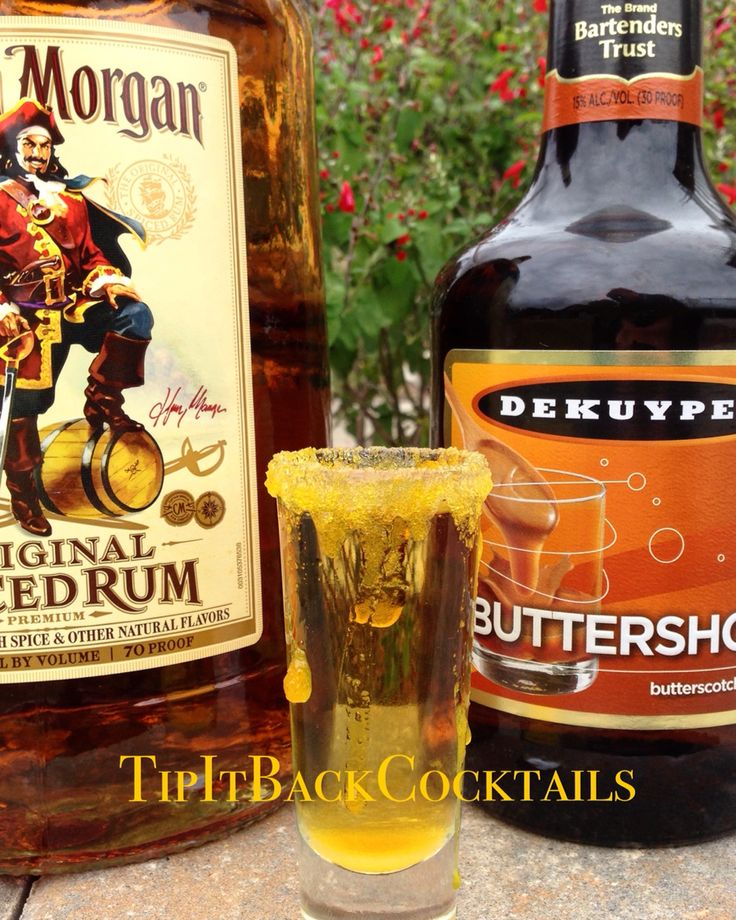 Greasy Pirate shot ☠ Rim shot glass with yellow sugar and let it be sloppy 1 part Captain Morgan Spiced Rum 1 part Dekuyper Buttershots