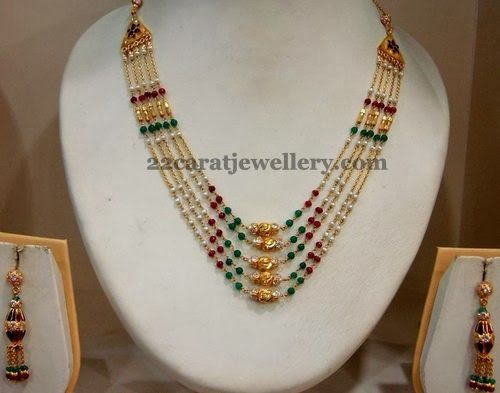 Small pearls, ruby beads and emeralds combination multi rows short necklace with antique work gold designer beads intricate all over the ...