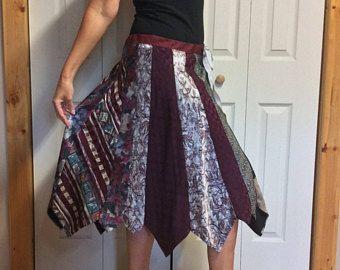 Zijden stropdas Midi rok/Upcycled kleding/gerecycled stropdas rok/voorzien kleding/rok gemaakt van banden/Womens One Size Small-Medium