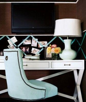 Home office. Blue velvet chair.  Display board has matching ribbon.  Trestle desk in white.  Sweet.