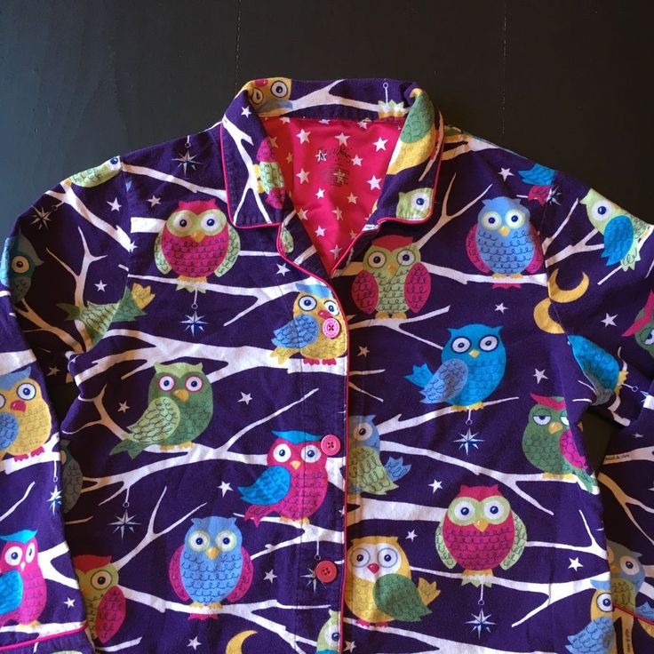 Nick and Nora Nightshirt Flannel Purple Owl Women's Medium Button Down Pajamas  | eBay